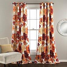 "Lush Decor Leah Verdunkeln Fenster Vorhang Panel Paar, Textil, rot/orange, Panel Pair 84"" x 52"