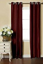 Lushomes 6 Ösen Drapers Dupion Seide Malvenfarbenes Fenster / Tür-Vorhang-Wählen Sie Größe