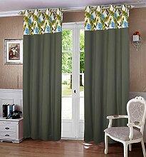 lushomes ausgekleidet Blackout Tür- / Fenster Öse grün fertige Vorhänge Wald drapers 1 Stück