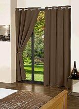 lushomes Baumwolle Blackout Tür- / Fenster Öse fertig gemacht Satz von 2 Vorhänge feste drapers - Grösse wählen