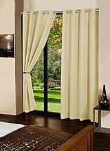 lushomes Blackout Tür- / Fenster Öse dekorative Vorhänge feste Baumwolle Gardinen - Größe wählen