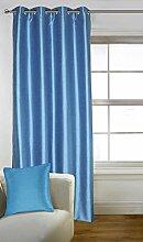 Lushomes Dekorative Fauxseide Teal Blau 8 Oesen Drapers Fenster / Türvorhänge