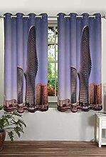 lushomes gefüttert Blackout Tür- / Fenster Öse Luxus Vorhänge zwei Gebäude drapers