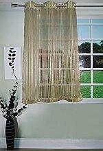 Lushomes Grün Sheer Streifen Vorhänge Ösen Polyester Drapierung Fenster / Türvorhänge
