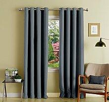 lushomes Öse grau solide Luxus Vorhänge Verdunkelungs Tür- / Fenster Ebene drapers 1 Stück