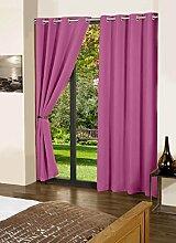 lushomes Öse solide Hauptdécor Vorhänge blackout schlicht Tür- / Fenster-rosa drapers 1 Stück