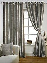 lushomes Polyester Öse dekorativ Wohnzimmer graue feste Tür Satz von 2 Vorhänge Gardinen - Größe wählen