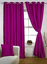 lushomes Polyester Öse Luxus Tür Satz von 2 Vorhänge Wohnzimmer solide drapers - Grösse wählen