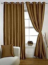 lushomes Polyester Wohnzimmer Öse Tür Satz von 2 Vorhänge feste drapers - Grösse wählen