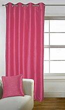 Lushomes Rosa Faux Silk Dekorative Fest 8 Ösen Drapers Fenster / Türvorhänge