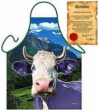 lustig bedruckte Bayern Grill und Kochschürze: Lila Kuh mit einer GRATIS Urkunde Einheitsgröße