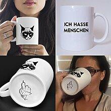 Lustig bedruckte Tasse mit Katzenmotiv und