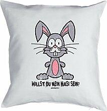 Lustige Dekoration Ostern / Osterkissen : Willst / Willst du mein Hasi sein ? -- cooles Geschenk Ostern -- Kissen mit Füllung Farbe:weiss