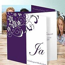Lustige Einladungen Silberhochzeit, Garten der Träume 200 Karten, Doppelklappkarte 145x145 inkl. weißer Umschläge, Lila