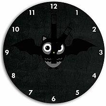 Lustige Fledermaus Eule Schwarz, Wanduhr Durchmesser 30cm mit schwarzen eckigen Zeigern und Ziffernblatt, Dekoartikel, Designuhr, Aluverbund sehr schön für Wohnzimmer, Kinderzimmer, Arbeitszimmer