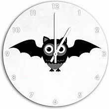 Lustige Fledermaus Eule Weiß, Wanduhr Durchmesser