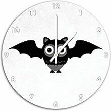 Lustige Fledermaus Eule Weiß, Wanduhr Durchmesser 48cm mit weißen spitzen Zeigern und Ziffernblatt, Dekoartikel, Designuhr, Aluverbund sehr schön für Wohnzimmer, Kinderzimmer, Arbeitszimmer