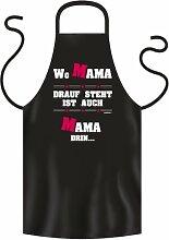 Lustige Fun Geschenkidee für Mütter: Grill-/Kochschürze Wo Mama drauf steht ist auch Mama drin