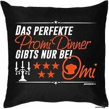 Lustige Fun Geschenkidee für Oma zum Geburtstag/Jubiläum: Kissenbezug ohne Füllung: Perfektes Promi Dinner nur bei Omi