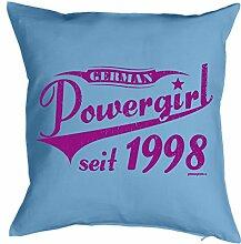 Lustige Fun Geschenkidee zum 16. Geburtstag: Kissenbezug (ohne Füllung): German Powergirl seit 1998 Hellblau