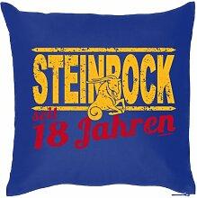 Lustige Fun Geschenkidee zum 18. Geburtstag: Sternzeichen Kissen (mit Füllung): Steinbock seit 18 Jahren Navy-Blau