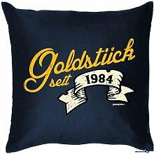 Lustige Fun Geschenkidee zum 30. Geburtstag: Kissen (mit Füllung) Goldstück seit 1984 Navy-Blau