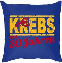 Lustige Fun Geschenkidee zum 30. Geburtstag: Sternzeichen Kissen (mit Füllung): Krebs seit 30 Jahren Navy-Blau