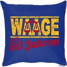 Lustige Fun Geschenkidee zum 50. Geburtstag: Sternzeichen Kissen (mit Füllung): Waage seit 50 Jahren Royal-Blau