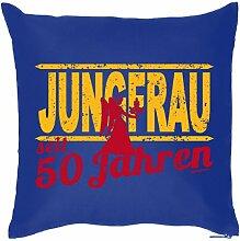 Lustige Fun Geschenkidee zum 50. Geburtstag: Sternzeichen Kissen (mit Füllung): Jungfrau seit 50 Jahren Royal-Blau