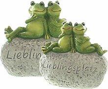 lustige Garten-Deko Stein-Deko Froschpaar auf