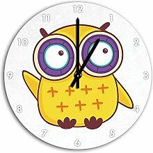 Lustige gelbe Eule sitzend Weiß, Wanduhr Durchmesser 30cm mit schwarzen spitzen Zeigern und Ziffernblatt, Dekoartikel, Designuhr, Aluverbund sehr schön für Wohnzimmer, Kinderzimmer, Arbeitszimmer