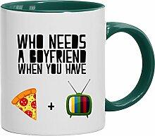 Lustige Geschenkidee Anti Valentinstag Freund Kaffeetasse 2-farbige Who Needs A Boyfriend, Größe: onesize,weiß/grün