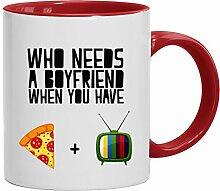 Lustige Geschenkidee Anti Valentinstag Freund Kaffeetasse 2-farbige Who Needs A Boyfriend, Größe: onesize,weiß/ro