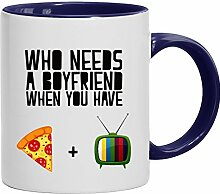 Lustige Geschenkidee Anti Valentinstag Freund Kaffeetasse 2-farbige Who Needs A Boyfriend, Größe: onesize,weiß/blau