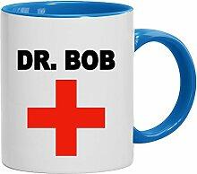 Lustige Geschenkidee Arzt ƒrztin Praxis Kaffeetasse 2-farbige Tasse Dr. Bob, Größe: onesize,weiß/hellblau
