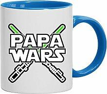 Lustige Geschenkidee Kaffeetasse 2-farbige Tasse Laserschwert - Papa Wars, Größe: onesize,weiß/hellblau
