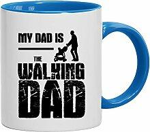 Lustige Geschenkidee Papa Vatertags Kaffeetasse 2-farbige Tasse My Dad Is The Walking Dad, Größe: onesize,weiß/hellblau
