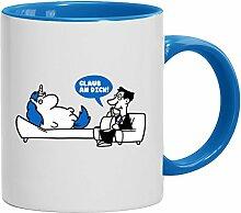 Lustige Geschenkidee Psychologe Kaffeetasse 2-farbige Tasse Einhorn - Glaub an Dich, Größe: onesize,weiß/hellblau