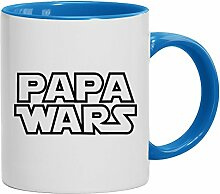 Lustige Geschenkidee Vatertags Kaffeetasse 2-farbige Tasse Papa Wars, Größe: onesize,weiß/hellblau