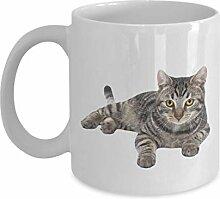 Lustige graue Tasse, lustige graue Katze, Tee,