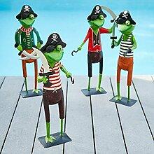 Lustige & Große Gartenfigur/Metallfigur für Garten – 4er Sparset - Piraten - Höhe 55cm - Hochwertige Gartendeko – Metall Tierfigur - Witzige & Dekorative Außenfigur/Piratenfigur