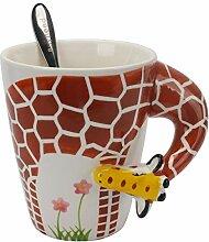 Lustige, handbemalte Kaffeetasse – Giraffe,