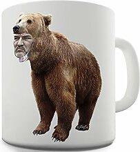 Lustige Kaffee Tasse Becher Bear Face Keramiktasse