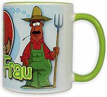 Lustige Kaffeetasse - Bauer sucht Frau, ein Kaffee-Becher aus Keramik, eine super Geschenkidee, ideal als Geburtstagsgeschenk.