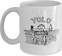Lustige Kaffeetassen, Yolo - weiße Kaffeetasse