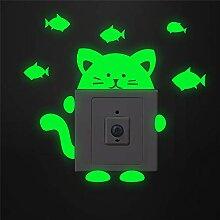 lustige katzen fisch leuchtende schalter aufkleber