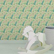 lustige Kinder Tapete mit kleinen Drachen im Zauberwald auf grün angepasst an Little Greene Wandfarben- Vlies Tapete Figuren - Kinderzimmer Wanddeko - GMM Design Tapete - Wandtapete - Wand Dekoration für edle Wohnakzente (um Wände halb hoch zu tapezieren H: 1,5m B: 46.5cm)