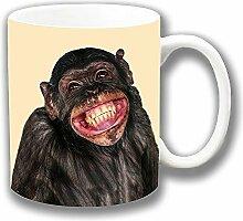 Lustige Neuheiten Lächelnde Schimpanse Affe Foto Druck Keramik Tee Kaffee Tasse Einzigartige Geschenkidee
