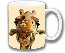 Lustige Neuheiten Süß Giraffenkopf Geschlossen Foto Druck Keramik Tee Kaffee Tasse Einzigartige Geschenkidee