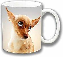 Lustige Niedliche Beige Chihuahua Hund Cartoon Geschlossen Vorderseite Keramik Tee Kaffee Tasse Einzigartige Geschenkidee